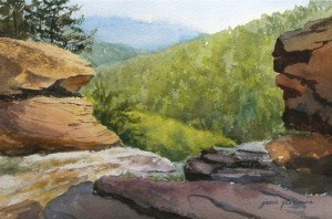 """Top of Kaaterskill Falls in Watercolor"" original fine art by Jamie Williams Grossman"