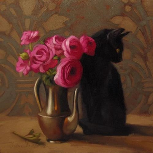 """Bystander black cat floral still life painting"" original fine art by Diane Hoeptner"