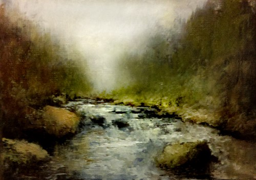 """Boulders in the River"" original fine art by Bob Kimball"