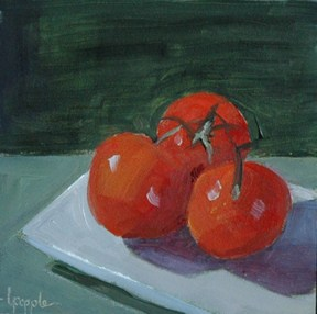 """TOMATO TRIO"" original fine art by Linda Popple"