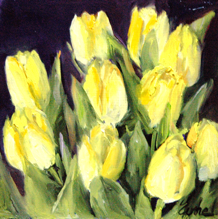 """Les tulipes jaunes"" original fine art by Evelyne Heimburger Evhe"