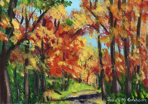 """Autumn Pathway ACEO"" original fine art by Janet Graham"