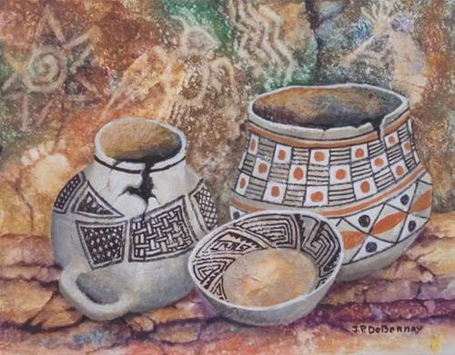 """Pots and Pictographs B"" original fine art by Jean Pierre DeBernay"