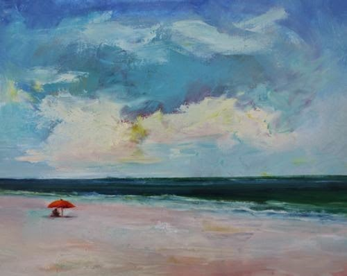"""Beach Read, Beach and Ocean Paintings by Arizona Artist Amy Whitehouse"" original fine art by Amy Whitehouse"