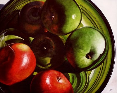 """Red & Green Apples"" original fine art by Jelaine Faunce"