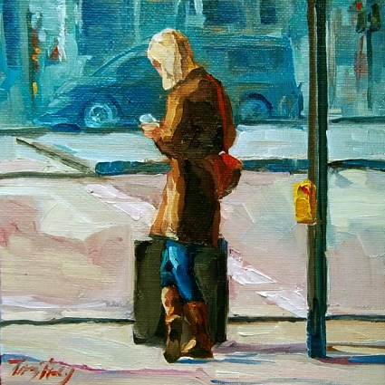 """at the train station"" original fine art by Jurij Frey"