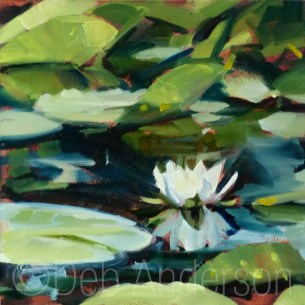 """Oil Painting of a Water Lily"" original fine art by Deb Anderson"