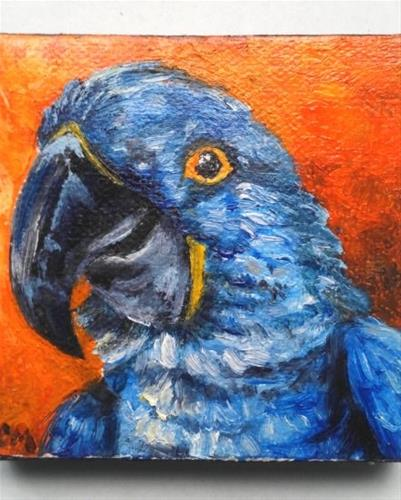 """Mini Oil Painting Bird Amazon Blue Parrot Pet Portrait"" original fine art by Camille Morgan"