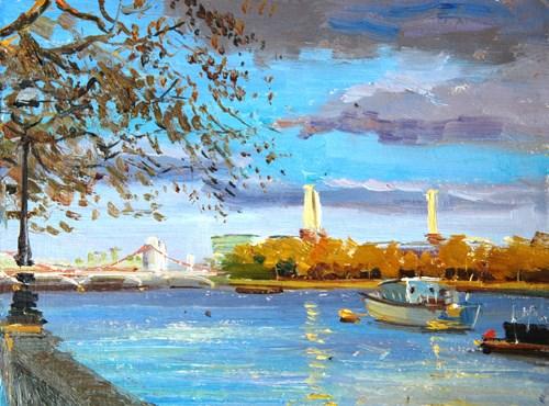 """Chelsea Bridge, Evening Light"" original fine art by Adebanji Alade"