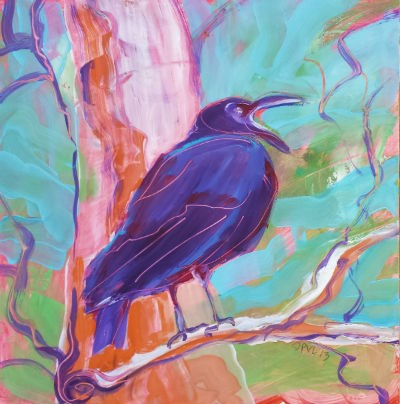 """Crow in the Tree 3"" original fine art by Pam Van Londen"