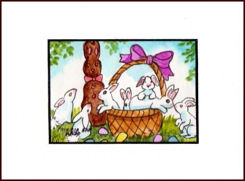 """Basket of Easter Bunnies"" original fine art by Patricia Ann Rizzo"