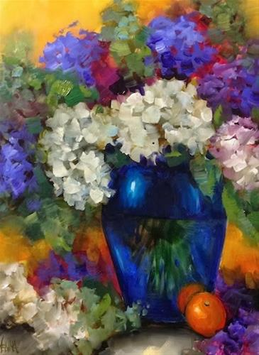 """Violet Halo Hydrangeas by Floral Artist Nancy Medina"" original fine art by Nancy Medina"