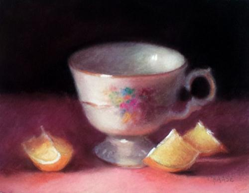 """Teacup and Lemon Wedges"" original fine art by Cindy Haase"