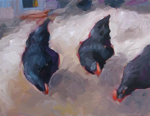 """Three Hens"" original fine art by Clair Hartmann"