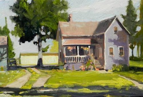 """Lavender House  Port Gamble, plein air painting by Robin Weiss"" original fine art by Robin Weiss"