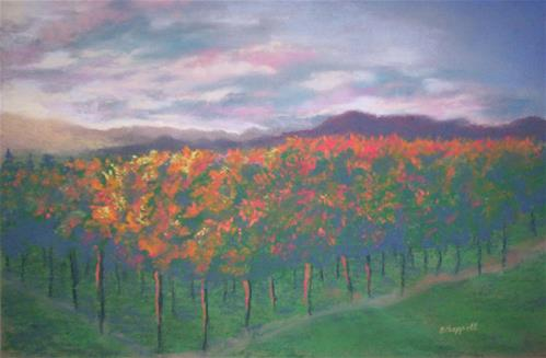 """Sunset Vineyard"" original fine art by Becky Chappell"
