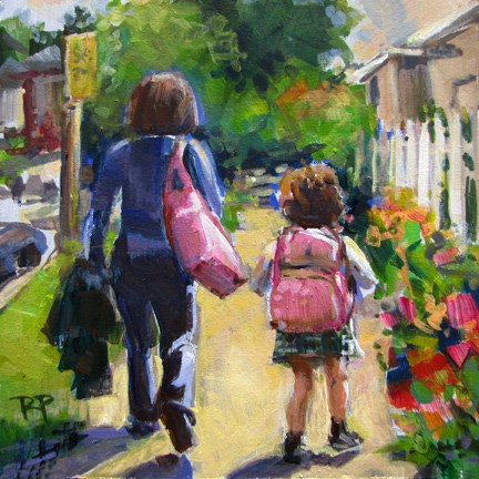 """Walking with mom"" original fine art by Robin Peterson"