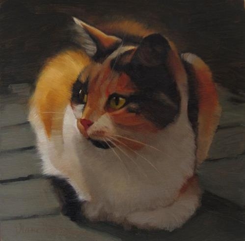 """Neighbor Cat, painting of a calico cat"" original fine art by Diane Hoeptner"