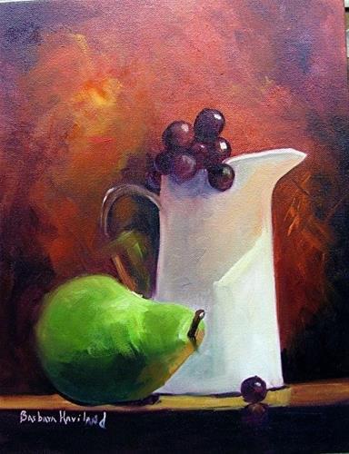 """White Jug, Green Pear and Cherries  Still Life"" original fine art by Barbara Haviland"