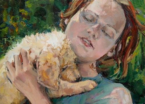 """Cuddle Bug"" original fine art by Robin Peterson"