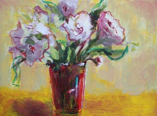 """Peonies In Red Vase by Arizona Artist Amy Whitehouse, Oil on Canvas 12 x 16 inches"" original fine art by Amy Whitehouse"