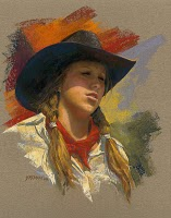 """New Cowgirl in Old Frame"" original fine art by Rita Kirkman"