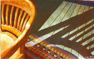 """India Ink & Pastel: Rieke's Chair"" original fine art by Belinda Del Pesco"