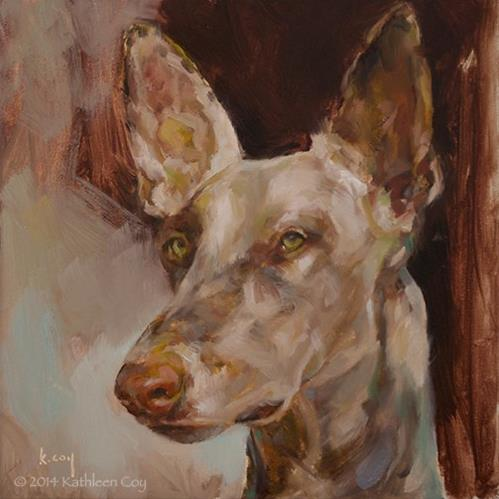"""Day 8 - Ibizan Hound"" original fine art by Kathleen Coy"