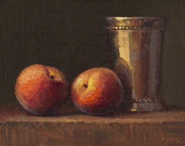 """Still Life with Two Peaches & Silver Cup"" original fine art by Abbey Ryan"