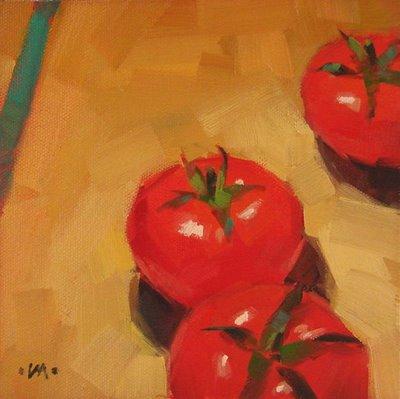 """Tomato Bowling"" original fine art by Carol Marine"