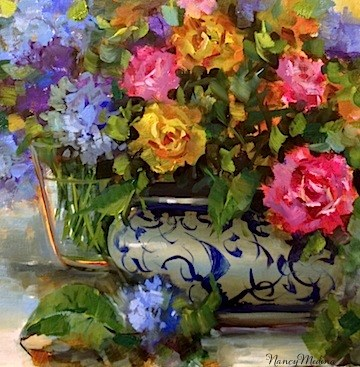 """Water and Air Roses and Hydrangeas and Gifts From Muses by Texas Artist Nancy Medina"" original fine art by Nancy Medina"