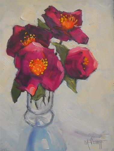 """Daily Painting, Flower Painting, Small Oil Painting, Rose of Sharon by Carol Schiff, 6x8 Oil"" original fine art by Carol Schiff"