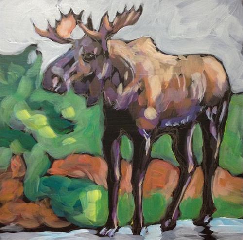 """""""Standing Moose"""" original fine art by Kat Corrigan"""