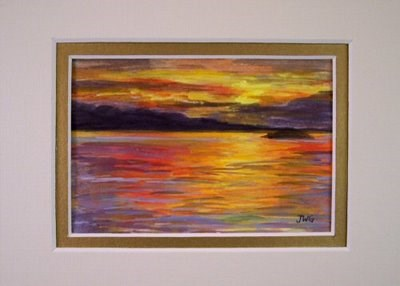 """""""Maine Sunset painting matted and framed"""" original fine art by Jamie Williams Grossman"""