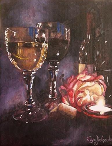 """""""Chiaroscuro Wine & Rose Series #2 by Joye DeGoede www.Joyesart.com"""" original fine art by Joye DeGoede"""