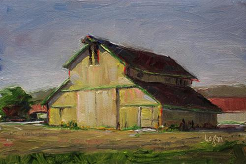 """Yellow Nipomo Barn"" original fine art by Raymond Logan"