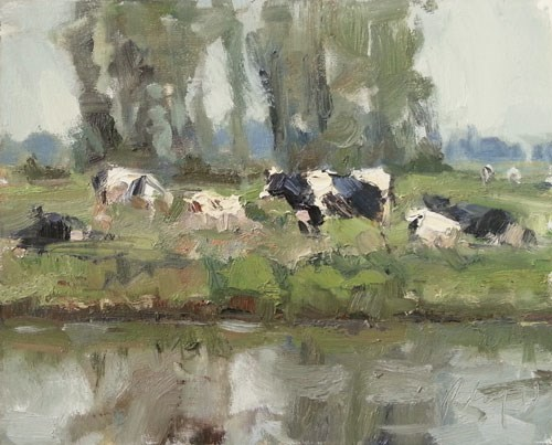 """Painting Cows"" original fine art by Roos Schuring"