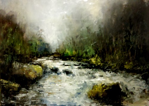 """Mountain River"" original fine art by Bob Kimball"