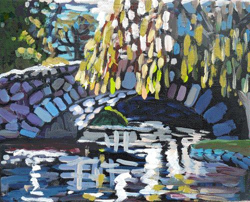 """Beacon Hill Park Bridge"" original fine art by Darlene Young"