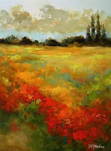 """Sunset Blaze and an Art Show Honor by Texas Artist Nancy Medina"" original fine art by Nancy Medina"