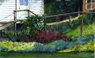 """Watercolor: Arnold Ave. Garden"" original fine art by Belinda Del Pesco"