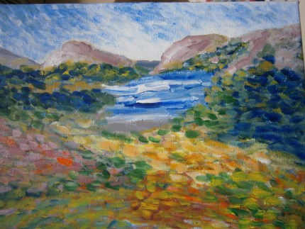 """""""Kerry Mountains and Lakes"""" original fine art by Marie O' Higgins"""