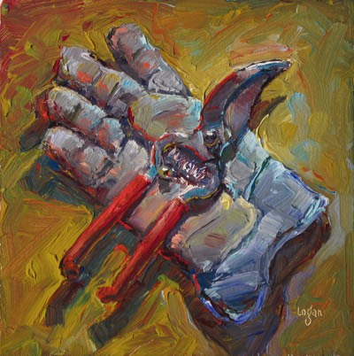 """Glove and Clippers"" original fine art by Raymond Logan"