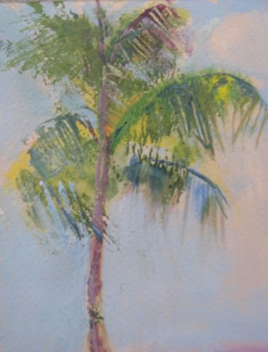 Daytona Palm, Acrylic Painting on Heavy watercolor paper original fine art by Amy Whitehouse
