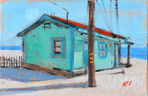 """Crystal Cove Beach Cottage Painting"" original fine art by Kevin Inman"