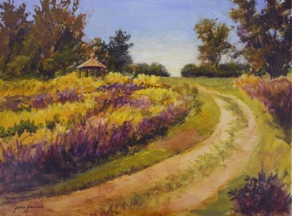 """Flower Path to the Gazebo"" original fine art by Jamie Williams Grossman"