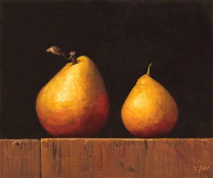 """""""Two Golden Pears"""" original fine art by Abbey Ryan"""