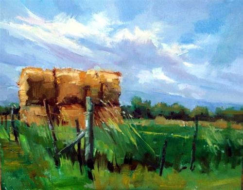 """Hay Bales & Blue Sky"" original fine art by Mary Maxam"