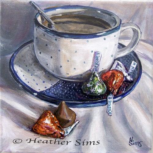 """Holiday Kisses: Polish Pottery LVIII"" original fine art by Heather Sims"