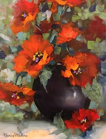 """Beguiled Again Poppies and Life's Revelations by Texas Flower Artist Nancy Medina"" original fine art by Nancy Medina"